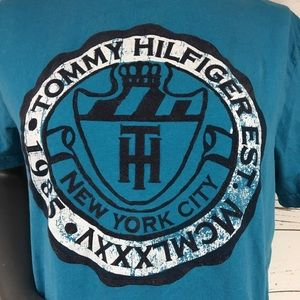 Tommy Hilfiger Logo 1985 Turquoise T Shirt Sz S/P